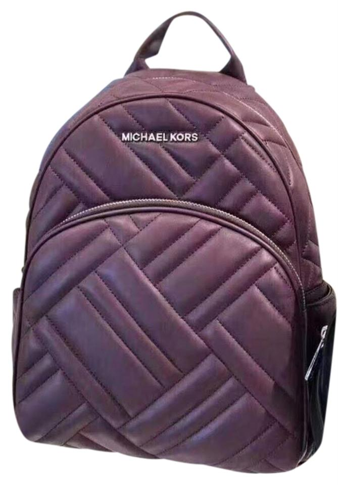 50f8abcad9 Michael Kors Abbey Medium Quilted Rhea Purple Leather Backpack - Tradesy