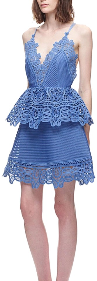 76bcf6d4e07e0 self-portrait Blue Lace Peplum Short Formal Dress Size 8 (M) - Tradesy