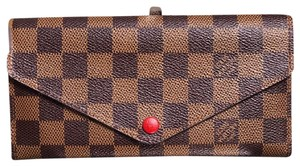 Louis Vuitton Authentic LOUIS VUITTON Josephine Long Wallet Rouge/Fuscia interior Damier Ebene