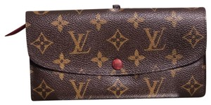 Louis Vuitton Authentic LOUIS VUITTON Emilie Long Wallet Rouge/Fuscia interior Monogram