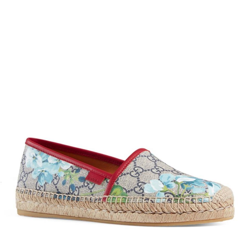 ba570afc172 Gucci Blue Red Green Multi Gg Espadrille and Dust Bag Flats Size US ...