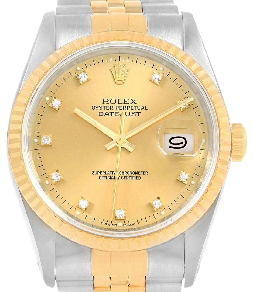 a61f168d62c05 Rolex Rolex Datejust 36 Steel Yellow Gold Diamond Dial Mens Watch 16233 Box  Image 0 ...