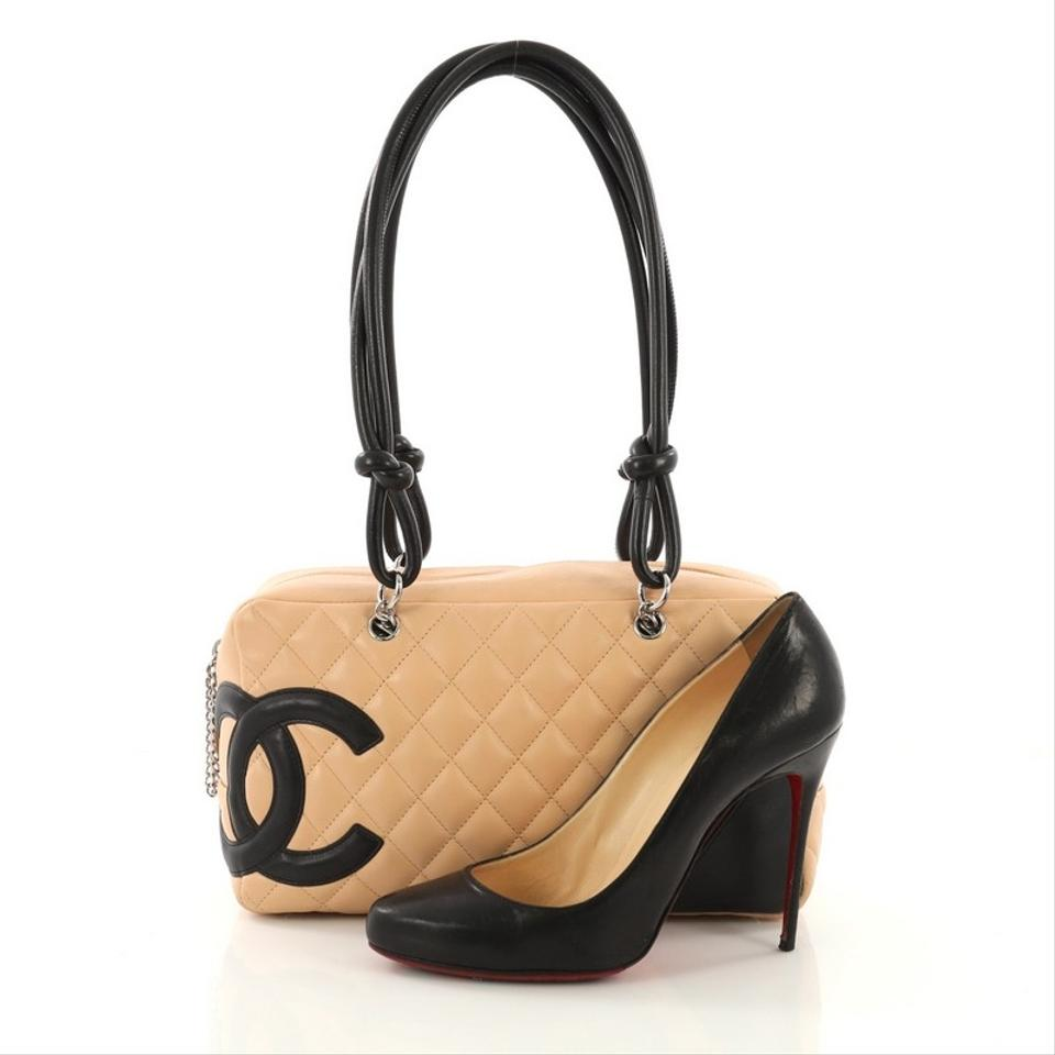 26d810695f20 Chanel Cambon Bowler Quilted Medium Beige Leather Shoulder Bag - Tradesy