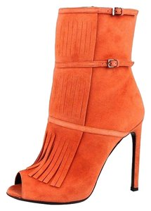 eeb9eef04 Gucci Women's Suede Strappy Fringed Sandals Orange Boots