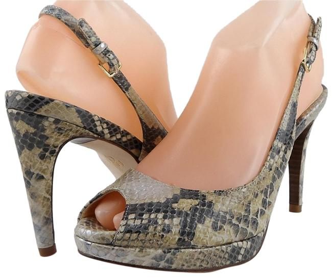 Item - Natural Snake Chelsea Open Toe Slingback Heels Sandals Size US 8 Regular (M, B)