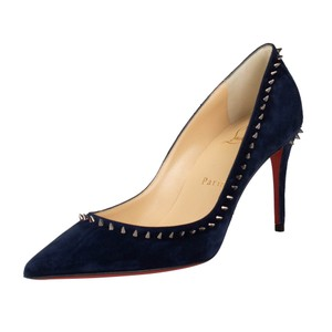 Christian Louboutin Studded Pointed Toe Red Sole Suede Gunmetal Navy Pumps