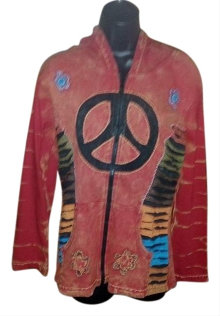 Item - Washed Red Retro Peace Sign Hoody New Nepal Small Sweatshirt/Hoodie Size 4 (S)