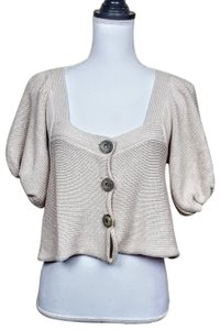 Free People Cropped Shortsleeve Knit Buttons Boho Cardigan