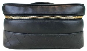 794494e2f1e1 Chanel Black Leather Quilted Zip Around Sale Cosmetic Bag - Tradesy