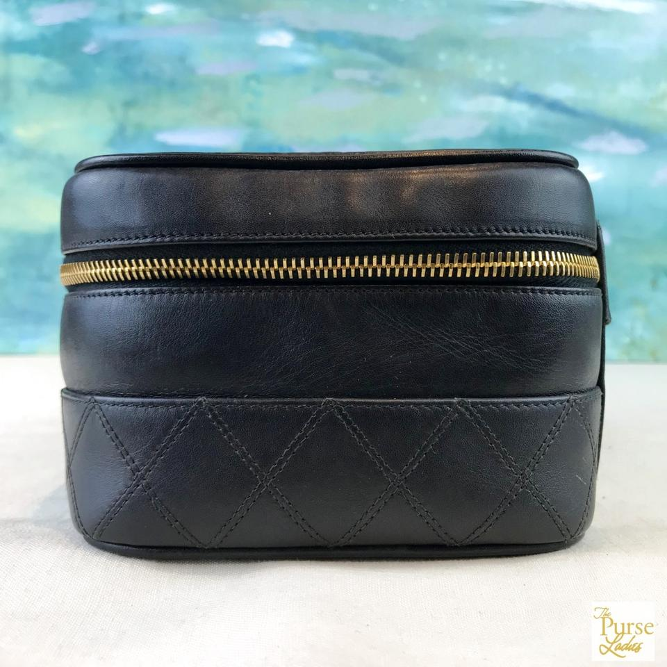 90a21b511284 Chanel Chanel Black Leather Quilted Zip Around Cosmetic Case Bag Sale!  Image 11. 123456789101112