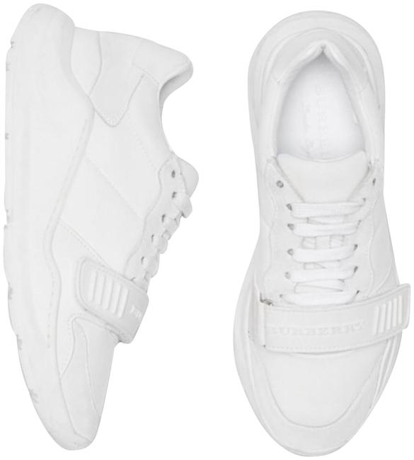 Item - White Women's Suede Neoprene and Leather Sneakers Size EU 37 (Approx. US 7) Regular (M, B)
