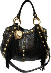 Gucci Leather Python Fringe Tote in Black