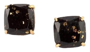 Kate Spade 14K Black & Gold Glitter Square Stud Post Earrings