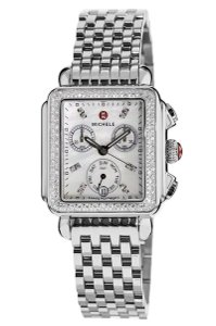 Michele NEW Deco Signature MOP Diamond Dial Steel MWW06P000099 Ladies Watch
