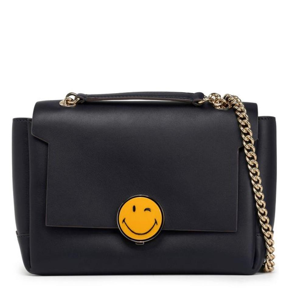 6fd7803b86 Anya Hindmarch Smiley Blue Navy Leather Cross Body Bag - Tradesy