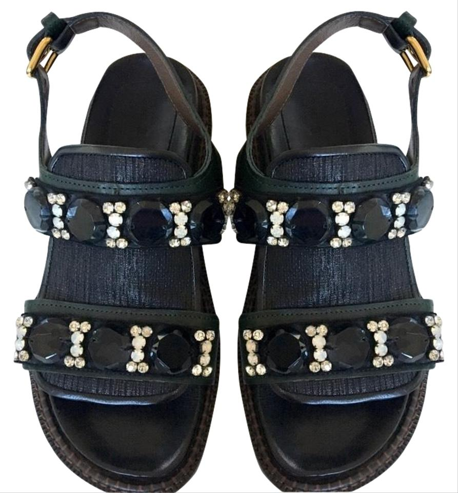 7dcf2f159 Marni Black and Green Rhinestone Sandals. Size  EU 37 (Approx. US 7) ...