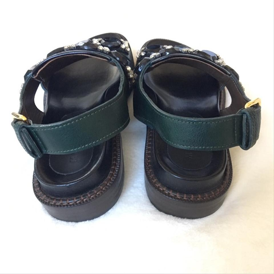 ffb049afe Marni Black and Green Rhinestone Sandals Size EU 37 (Approx. US 7) Regular  (M