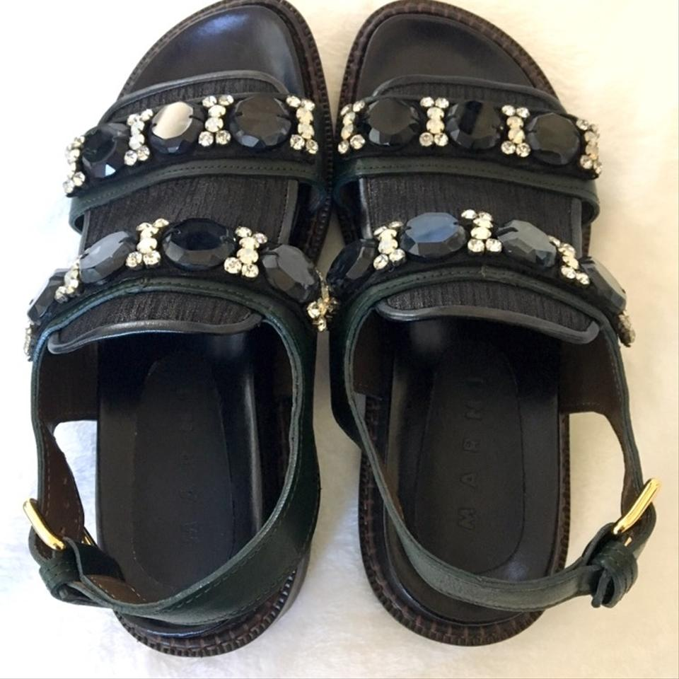 23a446392 Marni Black and Green Rhinestone Sandals Size EU 37 (Approx. US 7 ...