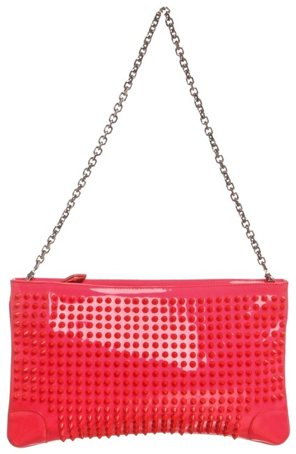 Item - Studded Loubiposh Shoul Hot Pink Patent Leather Clutch