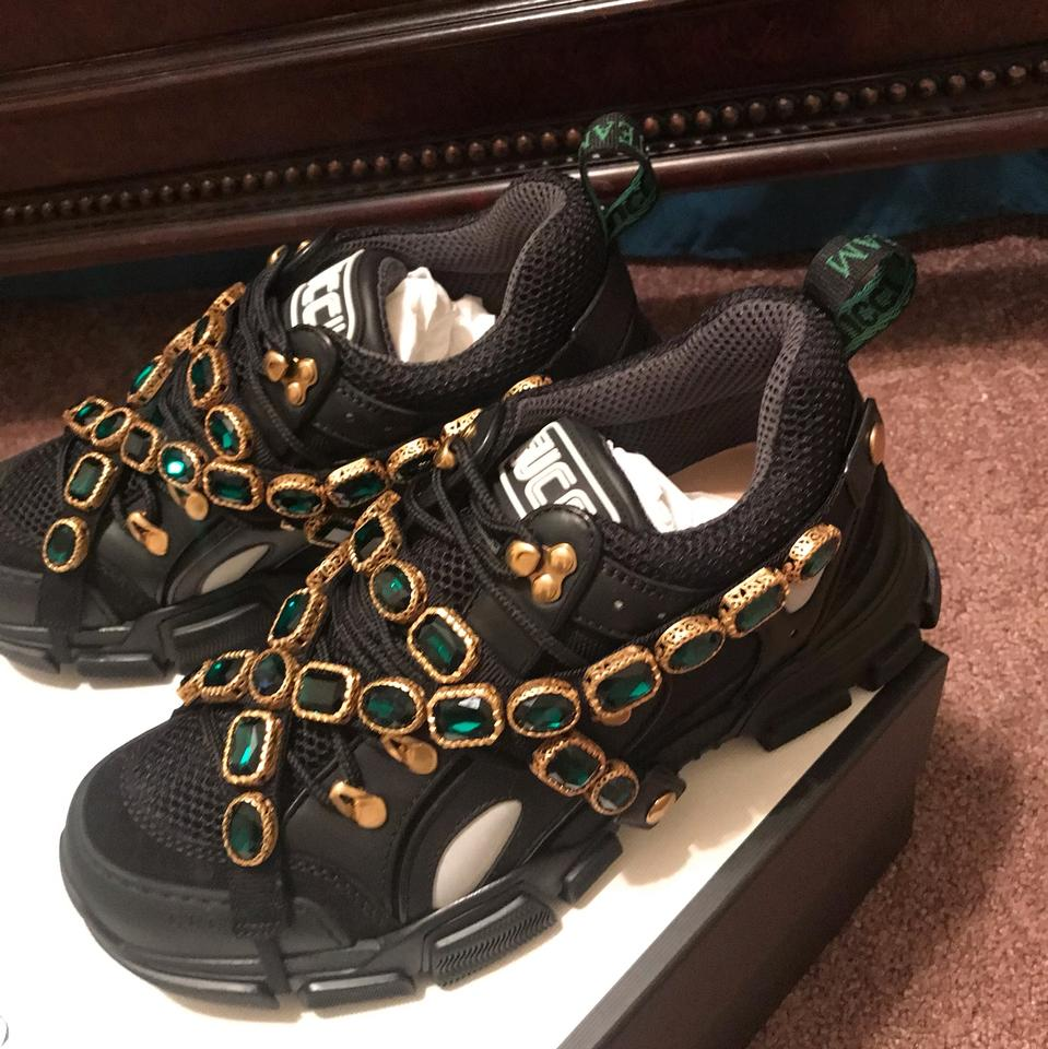 fdbd110c27df Gucci Mens Flashtrek Leather Sneaker with Crystals Sneakers Size US ...