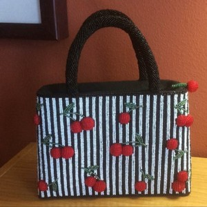 SAPA Cherry Beaded Embellished Satchel in Black, white, red and green