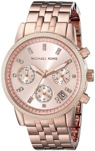 Michael Kors Michael Kors MK6077 Ritz Rose Gold Dial Stainless Chrono Womans Watch