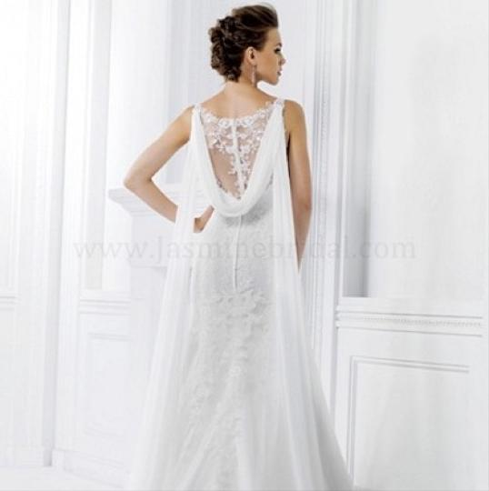 Jasmine Bridal Ivory Collection Lace Fit and Flare Gown Illusion V-neck with Sheer Lace Back Chiffon Drape Detail and Shoulder Feminine Wedding Dress Size 6 (S)