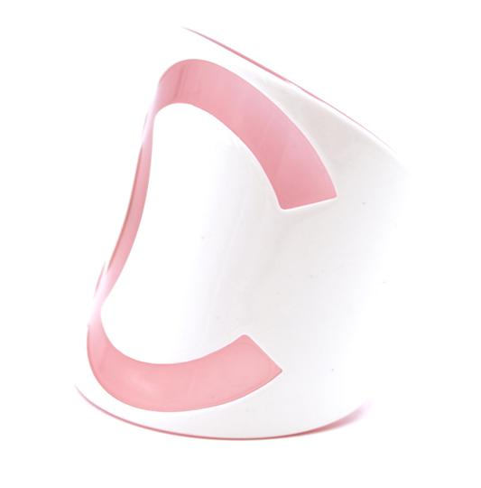 Chanel Large Wide CC Baby Pink off white Cuff Bracelet Bangle