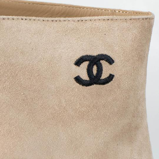 Chanel Cap Toe Suede Embroidered Beige Boots