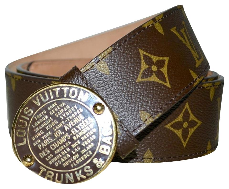f41e21af42c5 Louis Vuitton LOUIS VUITTON Monogram Leather LV Trunks   Bags Belt 90 Image  0 ...
