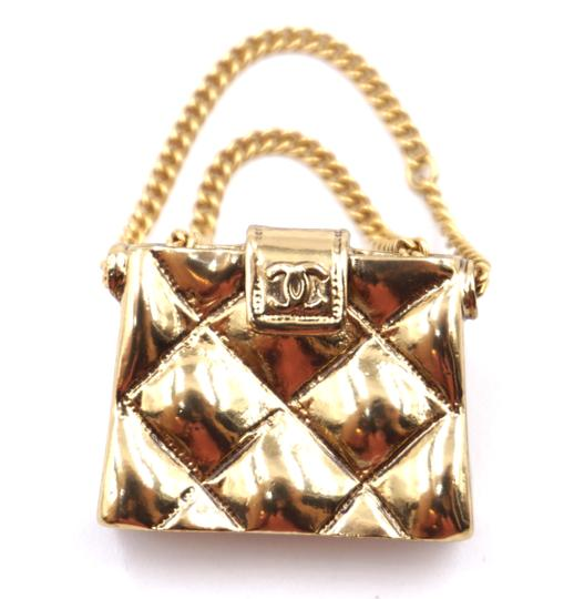 Chanel rare CC flap quilted bag gold hardware brooch pin charm