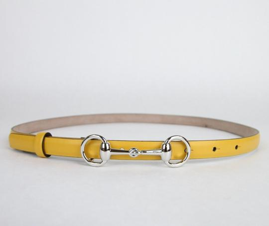 Gucci Yellow Leather Thin Skinny Belt w/Horsebit Buckle 80/32 282349 7011