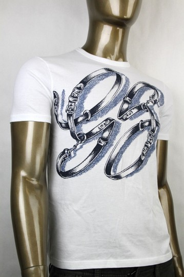 Gucci White Horsebit Men's Gg Logo Belt Graphic T Top 3xl 337660 9053 Shirt