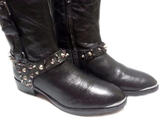 Sam Edelman Leather Two Tone Spiked Studs Black/Brown Boots