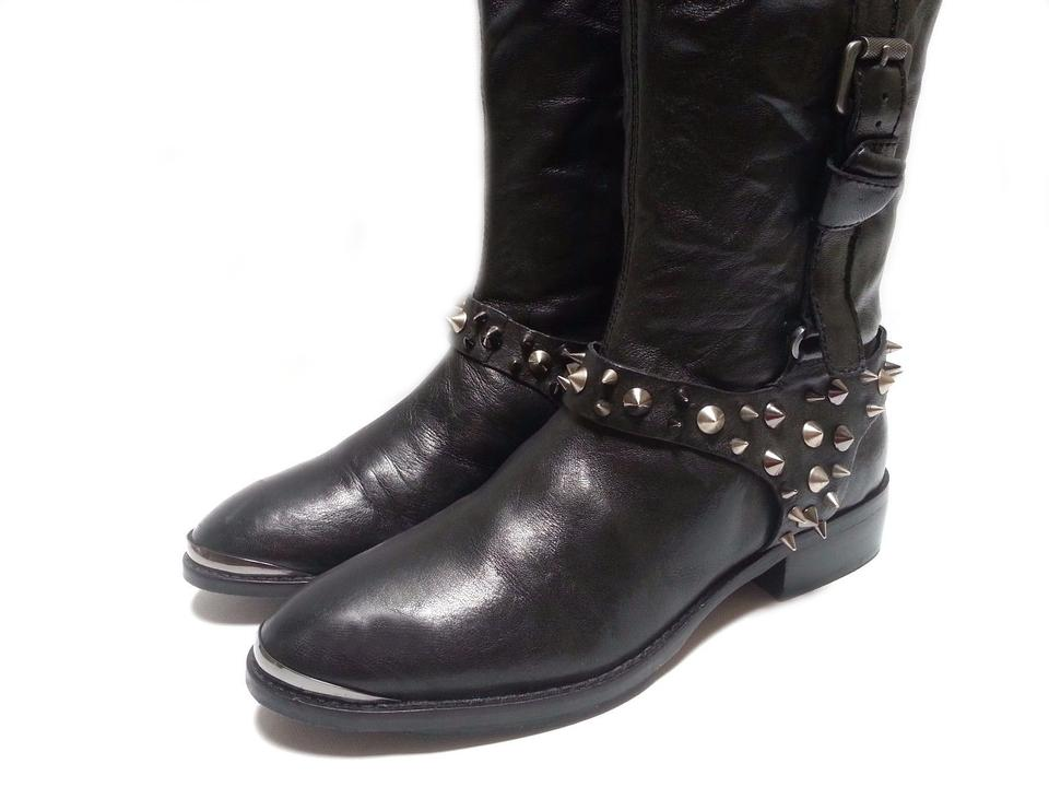 96f294e06 Sam Edelman Leather Two Tone Spiked Studs Black Brown Boots Image 7.  12345678