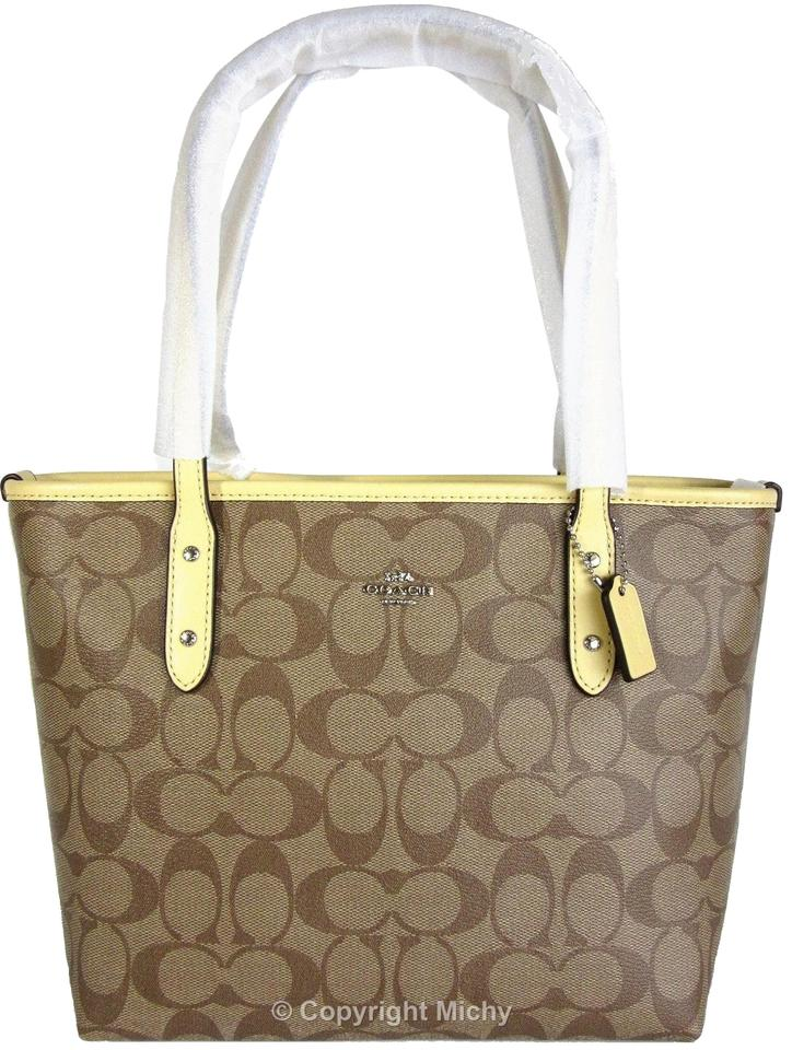 c2c01acb490e Coach City Zip Zip Top Mini Signature Tote in Khaki (Brown)   Vanilla ...