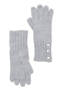 Michael Kors NWT MICHAEL KORS BUTTON DETAILED GLOVES GREY ONE SIZE 537152C
