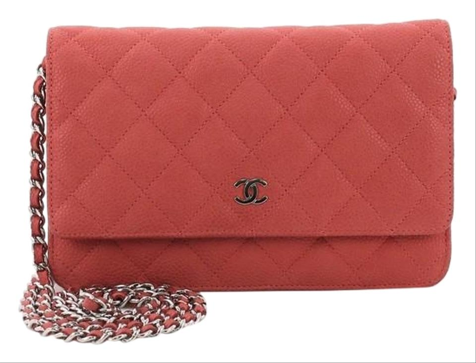253139046b5a Chanel Wallet on Chain Quilted Caviar Red Leather Cross Body Bag ...