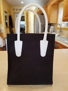 T. Anthony Small Leather Canvas Tote in Black and White