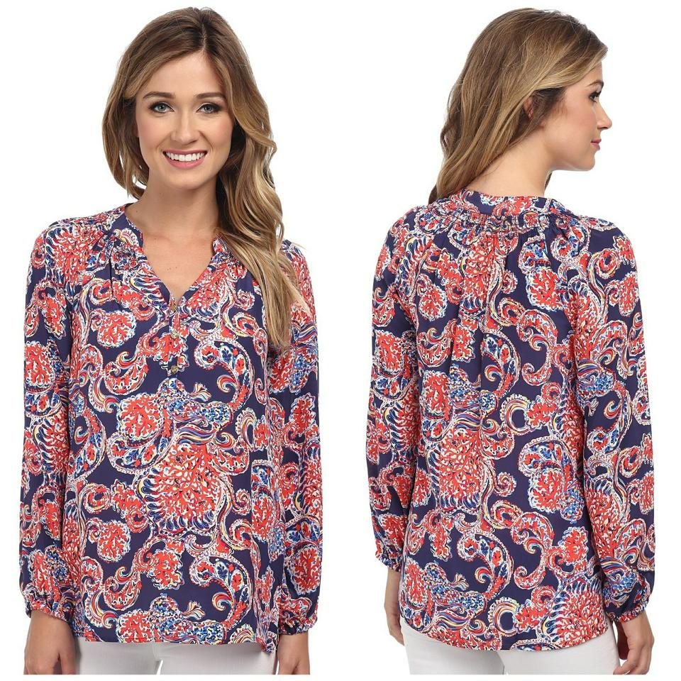 888e53b9cf63a6 Lilly Pulitzer Navy and Paisley Print Elsa For The Halibut Blouse ...