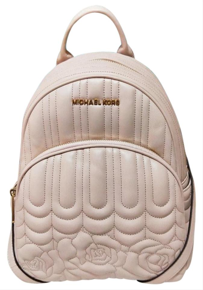 b079fdcd1ec940 Michael Kors Abbey Medium Quilted Floral Pink Leather Backpack - Tradesy