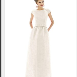 Alfred Sung Champagne D569 Cap Sleeve Bow Belted Dupioni Formal Bridesmaid/Mob Dress Size 0 (XS)