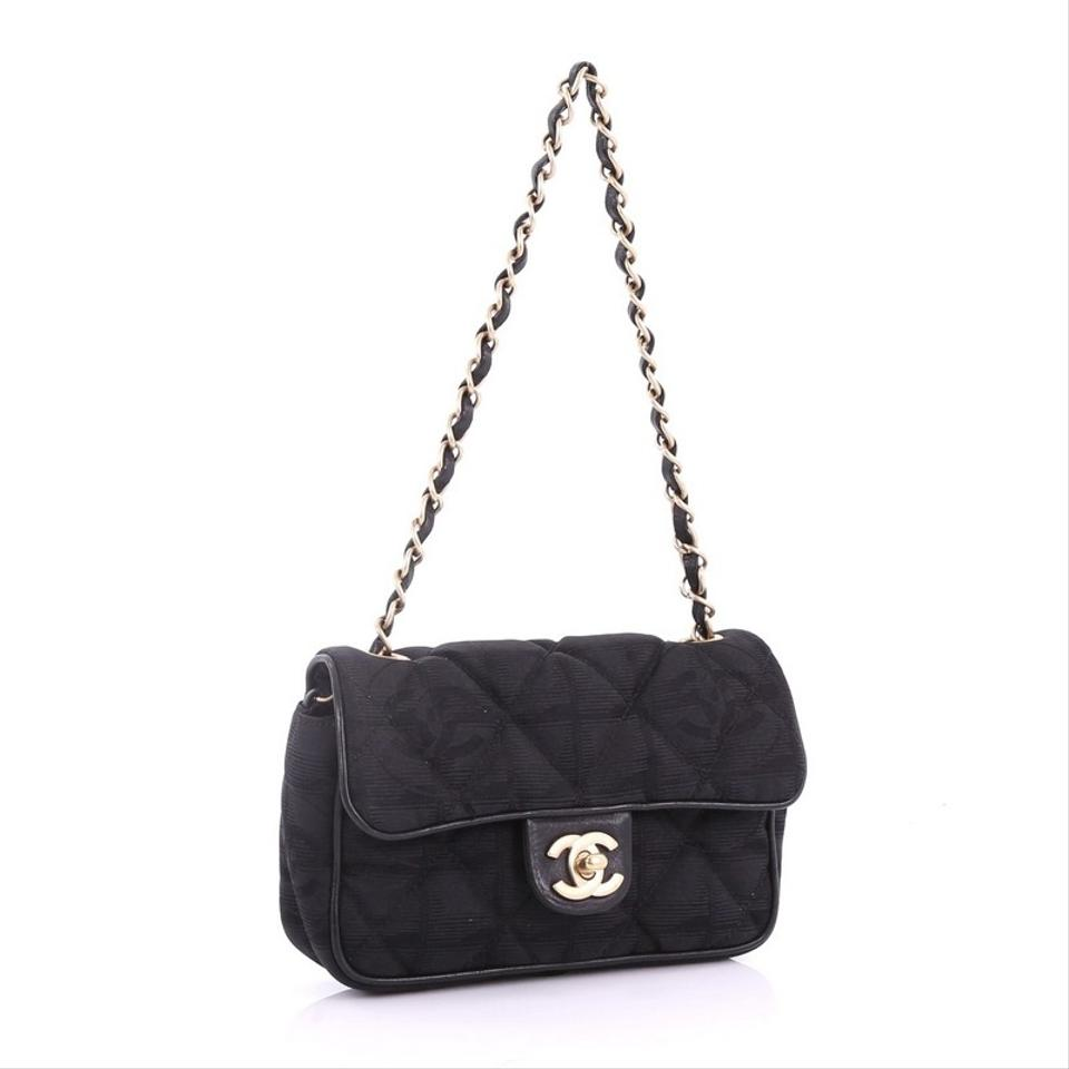 83ce184c4b770f Chanel Classic Flap Travel Line Quilted Small Black Nylon Satchel - Tradesy