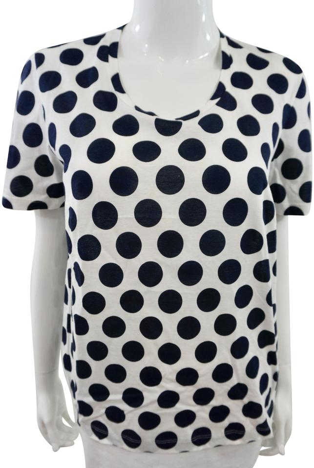 4e454b7fccd34d Burberry Navy Blue and White Polka Dot Blouse Tee Shirt Size 8 (M ...