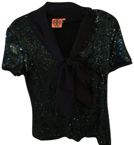 Tory Burch Top Dark green sequined with black tie/bow