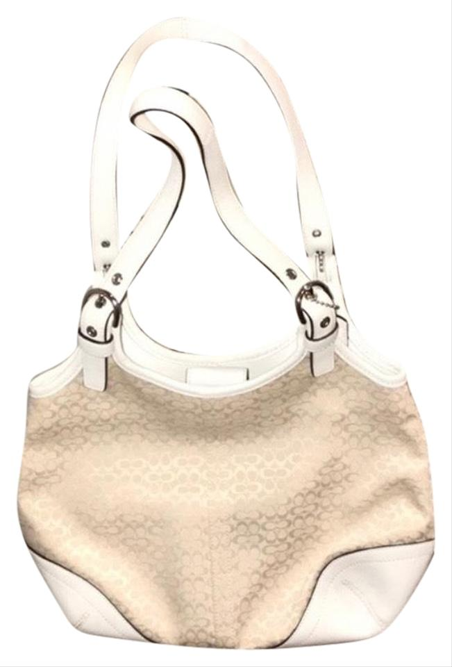 Coach Beige White Canvas and Leather Shoulder Bag - Tradesy f8994c730568b