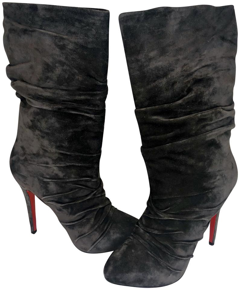 6785ffb766f Christian Louboutin Grey Piros 120 Suede Rouched Boots/Booties Size EU 39  (Approx. US 9) Regular (M, B) 26% off retail