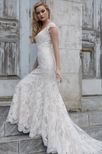 Allure Bridals Gold/Ivory Lace 9264 By Feminine Wedding Dress Size 12 (L)
