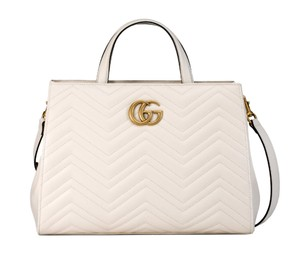 2ac21fb95b0d Added to Shopping Bag. Gucci Tote in White. Gucci Marmont Gg Medium  Matelassé Top Handle White Leather Tote