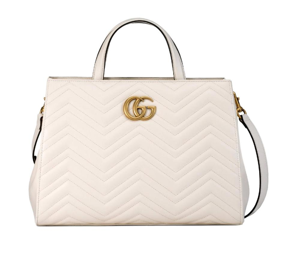 7699b5f1966 Gucci Marmont Gg Medium Matelassé Top Handle White Leather Tote ...